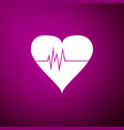 heart rate icon isolated on purple background vector image