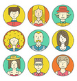 Linear People Icons vector image