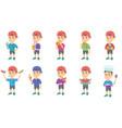 little caucasian boy set vector image vector image