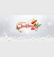 merry christmas typography and xmas ornaments vector image