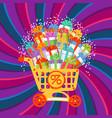 new year christmas holiday gift box shopping cart vector image vector image