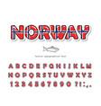 norway cartoon font norwegian national flag vector image