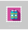 Oxygen tank flat stamp with long shadow vector image