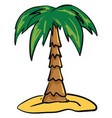 palm tree on sand on white background vector image vector image