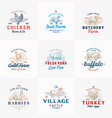 premium cattle and poultry farm retro badges or vector image vector image
