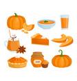 pumpkin vegetable food menu set cartoon raw and vector image vector image