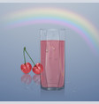 realistic glass filled with juice on light vector image vector image