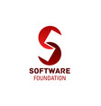 s letter icon for software foundation vector image vector image