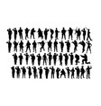 saluting soldier and army force silhouettes vector image vector image