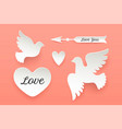 set of paper objects heart pigeon bird arrow vector image vector image