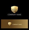 signal shield technology gold logo vector image vector image