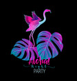 summer composition palm leaves with flamingo in vector image vector image