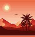 sunset in desert colorful flat vector image vector image