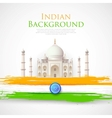Taj Mahal with Tricolor India Flag vector image