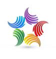 teamwork abstract hands logo vector image vector image