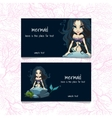 Two blue cards with mermaids and the text vector image vector image