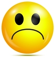 Unhappy glossy smiley icon vector image