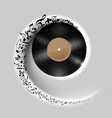 vinyl disc with music notes flying out in white vector image vector image