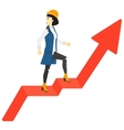 Woman standing on uprising chart vector image vector image
