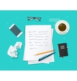 Writer workplace flat cartoon paper sheets vector image vector image