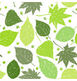 ink hand drawn seamless pattern with green leaves vector image