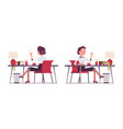 set of young secretary sitting at the office desk vector image