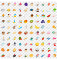 100 infusion icons set isometric 3d style vector image