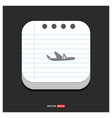 airplane accident icon gray icon on notepad style vector image