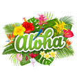 aloha hawaii lettering and tropical plants vector image vector image