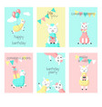 alpaca birthday greeting cards vector image vector image