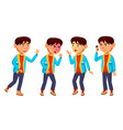 asian boy schoolboy kid poses set primary vector image vector image