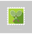 Badminton Racket flat stamp with long shadow vector image