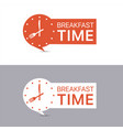 breakfast time banners red and white labels vector image