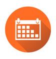 calendar icon on orange round background flat vector image vector image