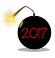cartoon 2017 new year bomb vector image vector image