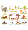 cartoon zoo set vector image vector image