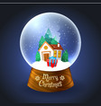 christmas snowglobe with house vector image vector image