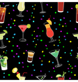 Cocktail and confetti party black seamless pattern vector image