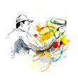 Colored hand sketch decorator vector image
