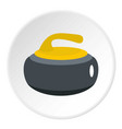 curling stone with yellow handle icon circle vector image vector image