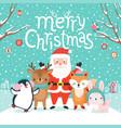 cute characters hugging - santa claus fox vector image vector image