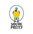 cute hand drawn parrot with love quotes vector image vector image