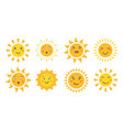 cute sun set cartoon sun emoticon characters vector image