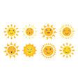 cute sun set cartoon sun emoticon characters vector image vector image
