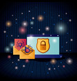 cyber security with laptop vector image vector image