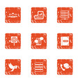 delivery of post icons set grunge style vector image vector image
