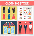 flat clothing shop square concept vector image vector image