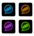 glowing neon speech bubble with snoring icon vector image
