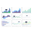 graphs and charts set vector image vector image