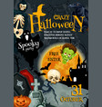 halloween witch monsters party poster vector image vector image